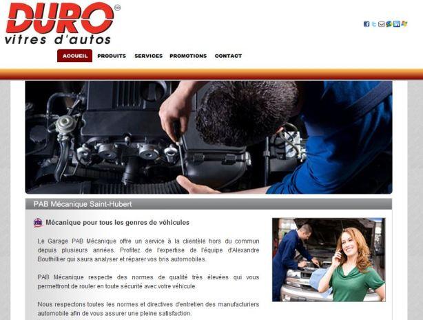 Site internet pour réparateur de pare-brise Duro Vitres d'autos