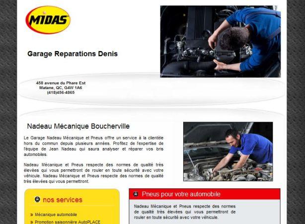 Site web pour garage Midas