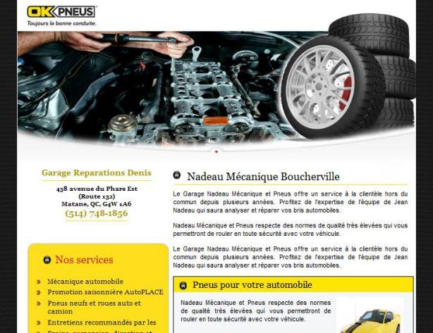 Site web pour garage Ok Pneus