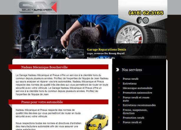 Site web et page internet pour garage Sax
