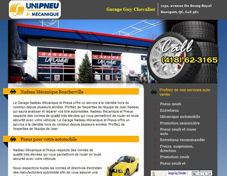 Site web pour garage unipneu m canique mon garage automobile sur le web - Site internet garage automobile ...