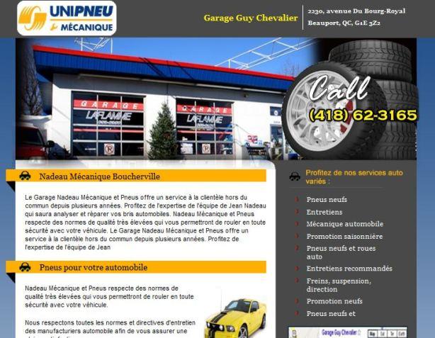 Site web pour garage UNIPNEU mécanique et pneus